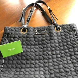 Kate Spade Black Quilted Tote Leather Handles